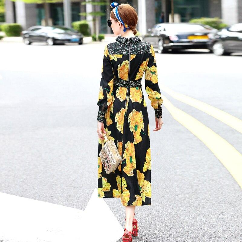 Designer Floral Imprimé Femmes Broderie Noir Up Élégant Été 2018 Robe Manches Longues Parti Lace Femme Robes PZiOlwkuTX