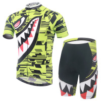Cycling Set Short Sleeve Jersey and Shorts Men Summer Bike Set Shark Pattern Quick Dry Breathable Bicycle Riding Clothes