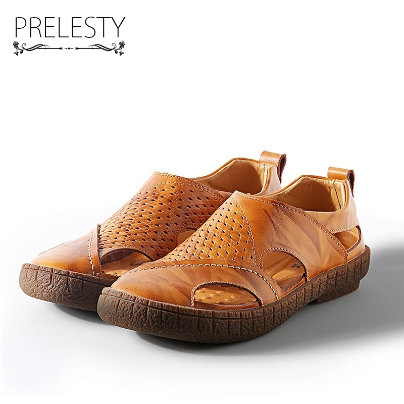 Prelesty 2018 Summer New Men Sandals Genuine Leather Casual Shoes Slippers Breathable Beach Sandals Hollow Holes Outdoor 2016 summer men sandal sale medium b m back strap shoes melissa genuine leather sandals new men s beach shoes free shipping