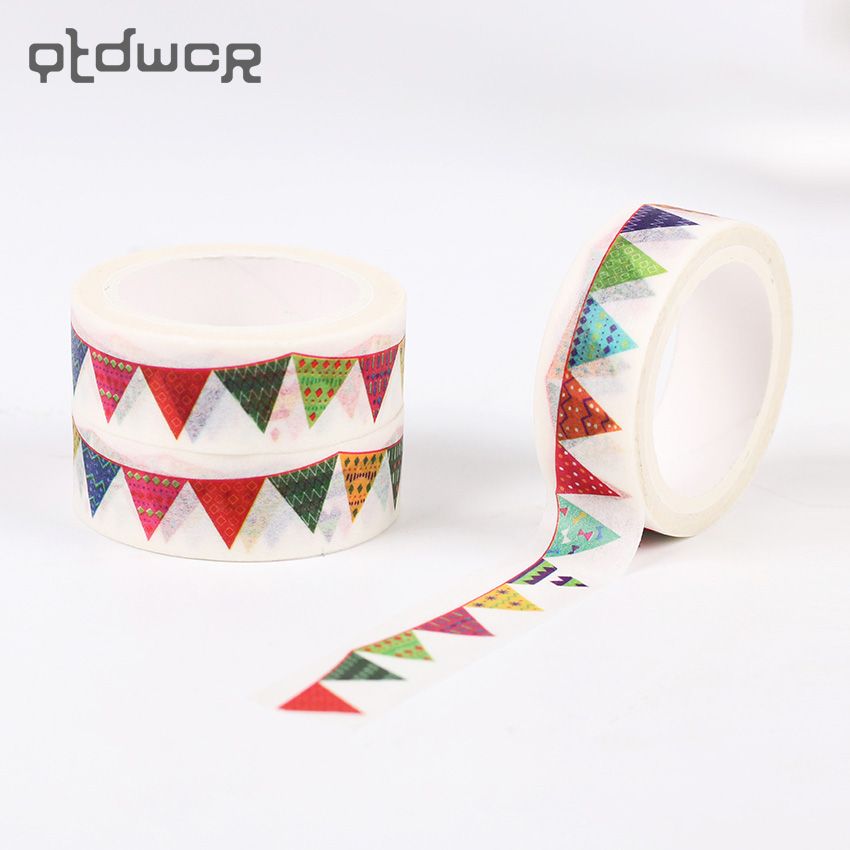 1PC 8m Colorful Flag Washi Tape DIY Decorative Masking Tape Label Sticker Paper Adhesive Tapes for Stationery Gift aagu 1pc 8mm 7m label stationery red black dot stripe washi tape decorative masking tape lovely high viscosity paper sticker
