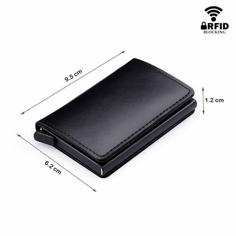 RFID Блокировка 100% из натуральной кожи держатель для кредитных карт Алюминиевый металлический бизнес ID Slim тонкий чехол для карт мини кошелек для мужчин