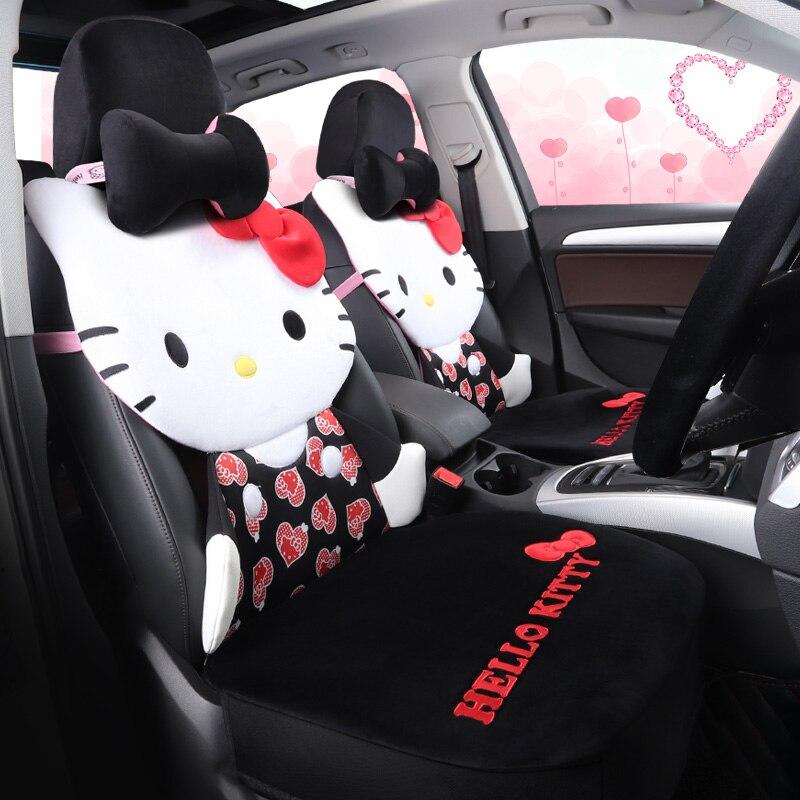 De dibujos animados hello kitty cubierta de asiento de coche caliente de la felpa coche cojín conjunto en invierno auto-cubre accesorios universal para todos coches estilo