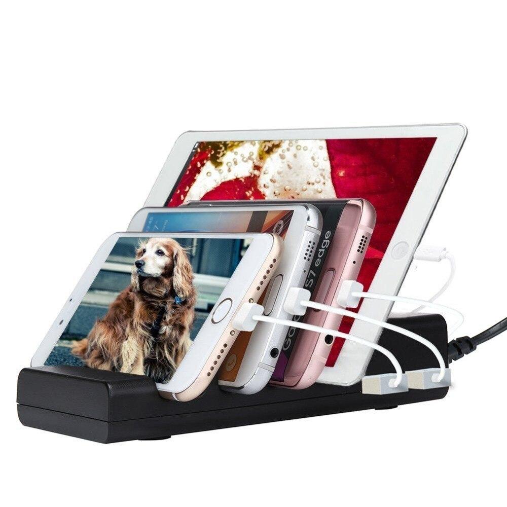 4 Порты зарядная док-станция Подставка держатель 1A/2.4A USB универсальный смартфон Зарядное устройство для iPhone X 8 7 6 6 S плюс 5 Samsung LG