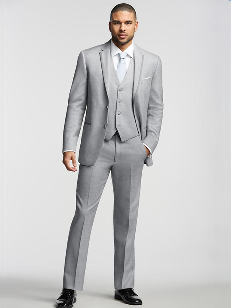 CUSTOM MADE TO MEASURE Mens BESPOKE Suit, TAILORED Grey Suits With Double Siding Flap Pocket(Jacket+Pants+Tie+Pocket Square)
