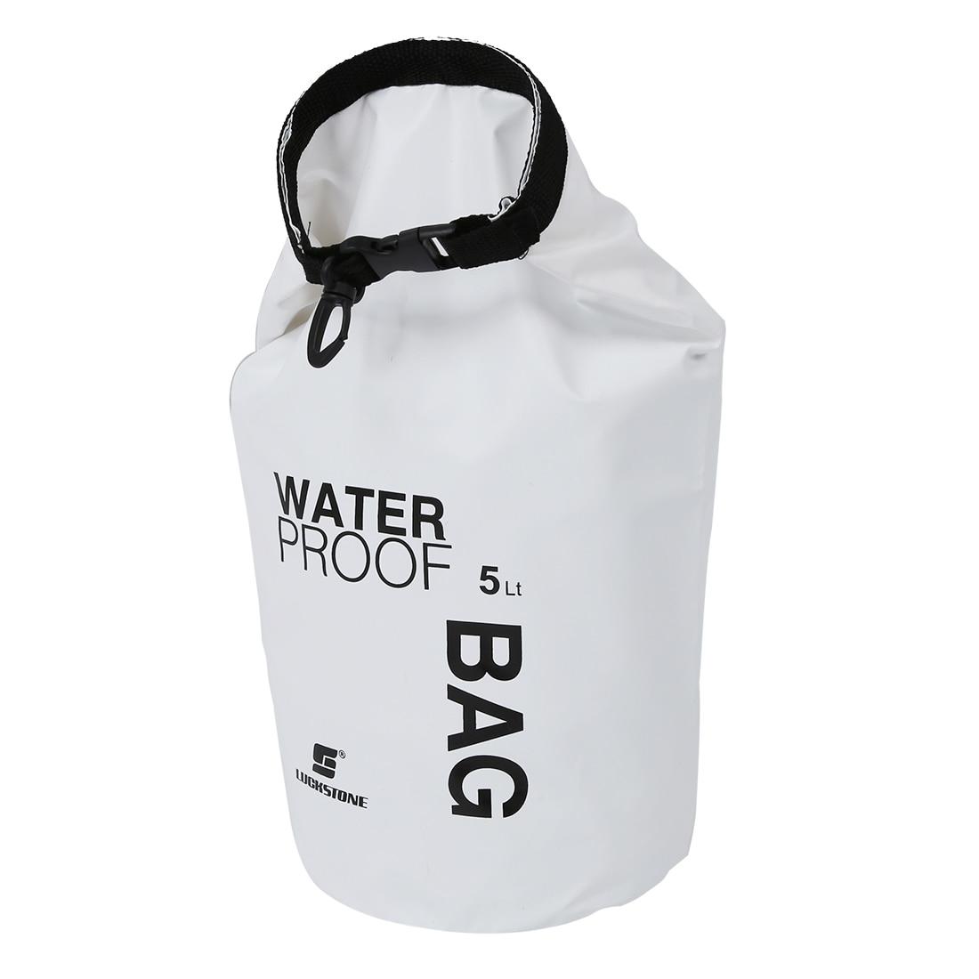 LUCKSTONE 5L Ultralight Outdoor Waterproof Rafting Dry Bag Camping Travel Kit Equipment Canoe Kayak Swimming Bags Storage White