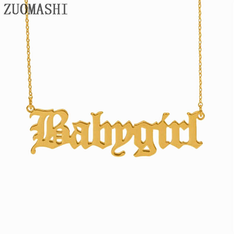 Babygirl Old English Font Necklace Baby Girl Necklace Babygirl Letter Pendant Necklace Gift For Girlfriend Personalized Gift