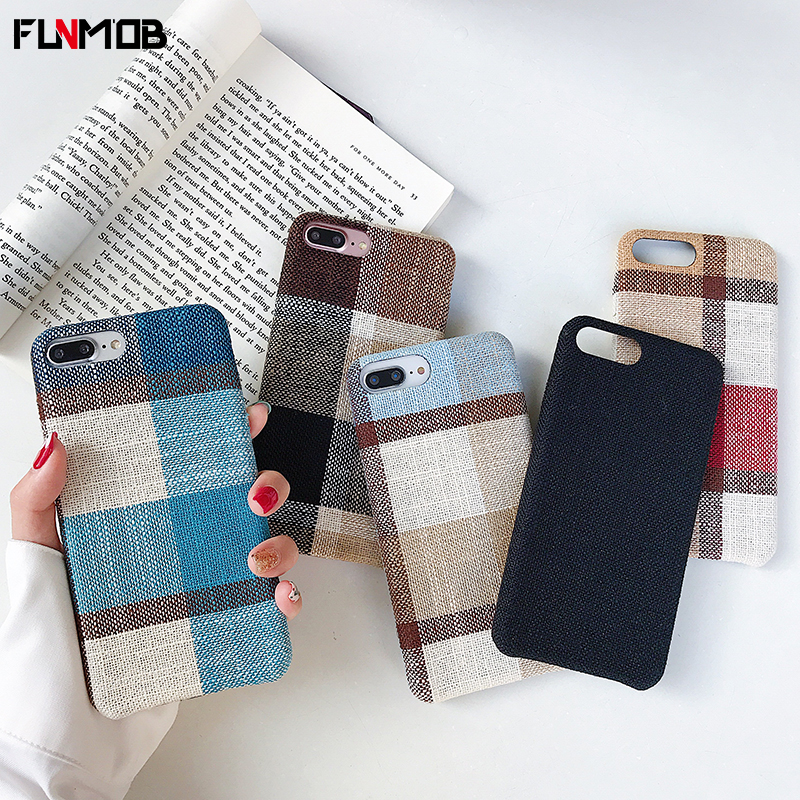 Black Soft Silicone Cloth Grid Case For iphone 6 6s 7 8 Plus x Xr Xs Max Shockproof Protective Back Cover Case in Fitted Cases from Cellphones Telecommunications
