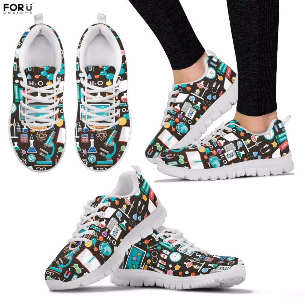 FORUDESIGNS Women Shoes Science Sneakers for Teenager Girls Casual Breathable Walking Shoes Ladies Lace-up Flats Sapato Feminina instantarts women flats emoji face smile pattern summer air mesh beach flat shoes for youth girls mujer casual light sneakers