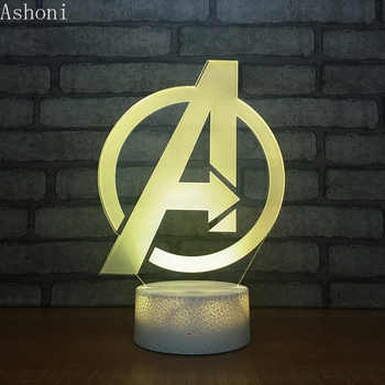 Marvel The Avengers 3D Table Lamp Captain Marvel Acrylic 7 Colors Changing Night Light USB Decorative Kids Toys Gifts - Category 🛒 Lights & Lighting