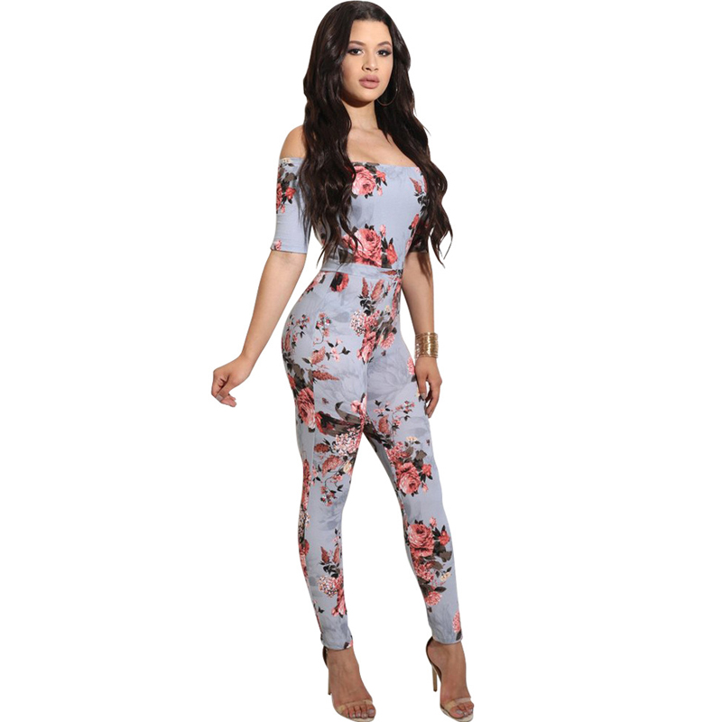 Fashion 2018 New Summer Women Off-shoulder Skinny Jumpsuits Floral Print Bandage Rompers Sexy Party Clubwear Slash Neck Overalls