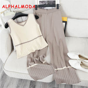 ALPHALMODA 2018 Summer Women 2pcs Casual Knit Sets
