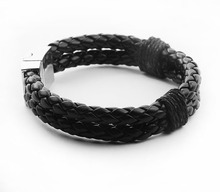Leather bracelet preparation mens jewelry European and American leather woven handmade multilayer