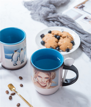 11oz two tone color Personalized Magic Mug, Custom Photo Color Changing Mug with spoon