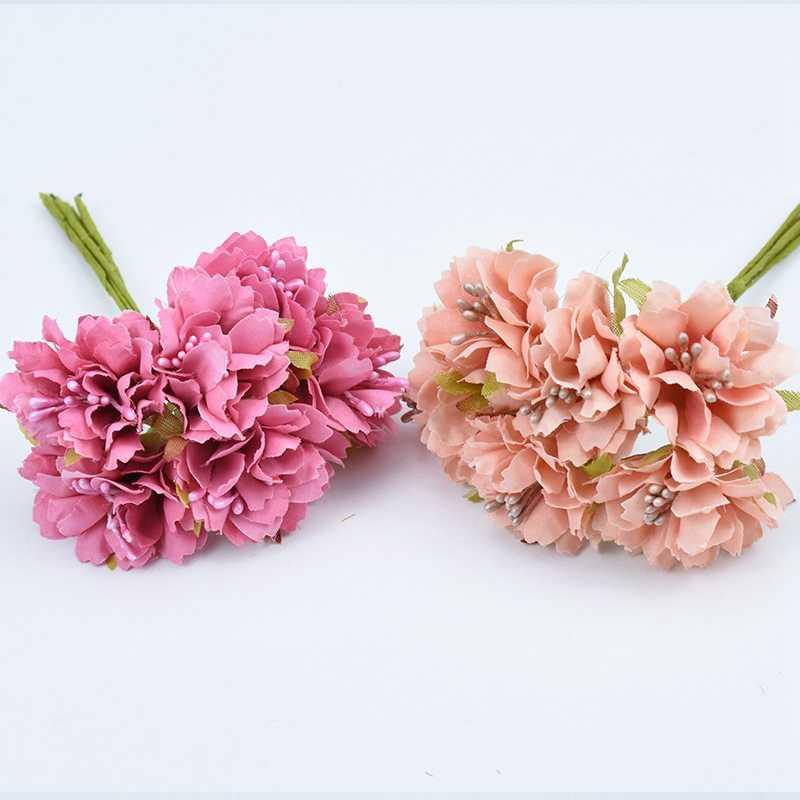Sutra Carnation Buket untuk Aksesoris Pengantin Clearance Scrapbooking DIY Natal Karangan Bunga Pernikahan Rumah Dekorasi Bunga Buatan