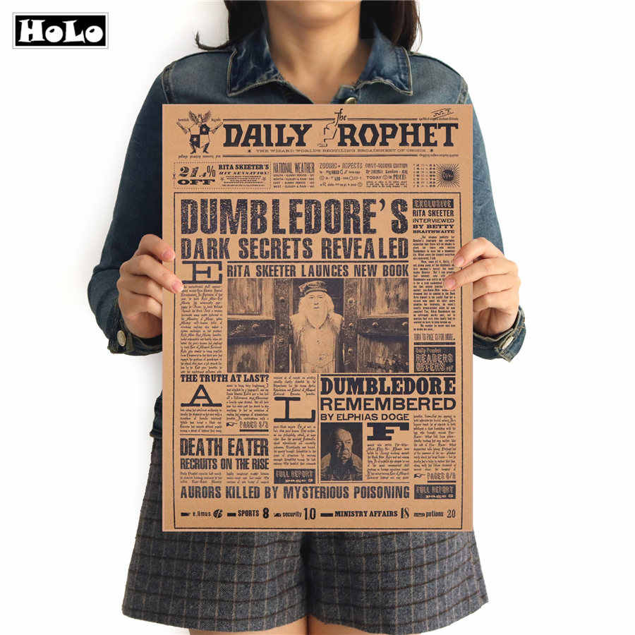 Retro Kraft Paper Poster Harry Movie Potter Albus Dumbledore Wall Sticker Bar Cafe Decorative Painting FTD 42x30cm