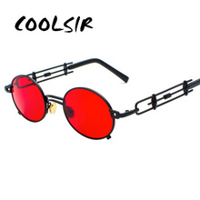 COOLSIR Retro Steampunk Sunglasses Men Round Vintage 2019 Metal Frame Gold Black Oval Sun Glasses for Women Red Male Gift