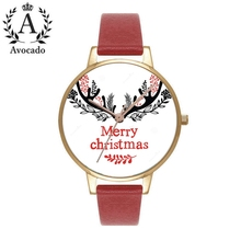 2019 Christmas Gift Watch, Christmas Tree Fawn Headdress Women red and Women's Watch Clock Leather Children Quartz Wristwatche все цены