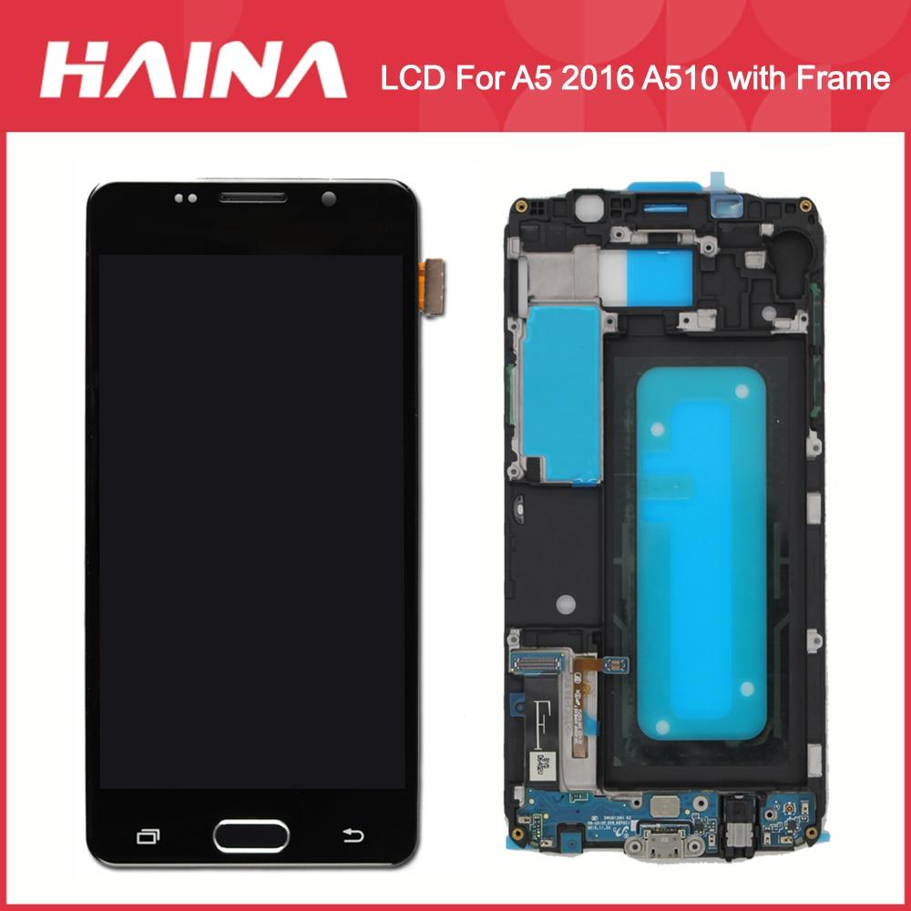 A510 LCD Pour Samsung Galaxy A5 2016 LCD A510F A510M SM-A510F Affichage Écran Tactile Digitizer w/Frame Touche Accueil flex Chargeur Flex