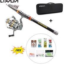 Lixada Telescopic Fishing Rod Reel Combo Full Kit Carp Fishing Pole Rod Reel Line Lures Hooks Bag Fishing Tackle Set for Pesca