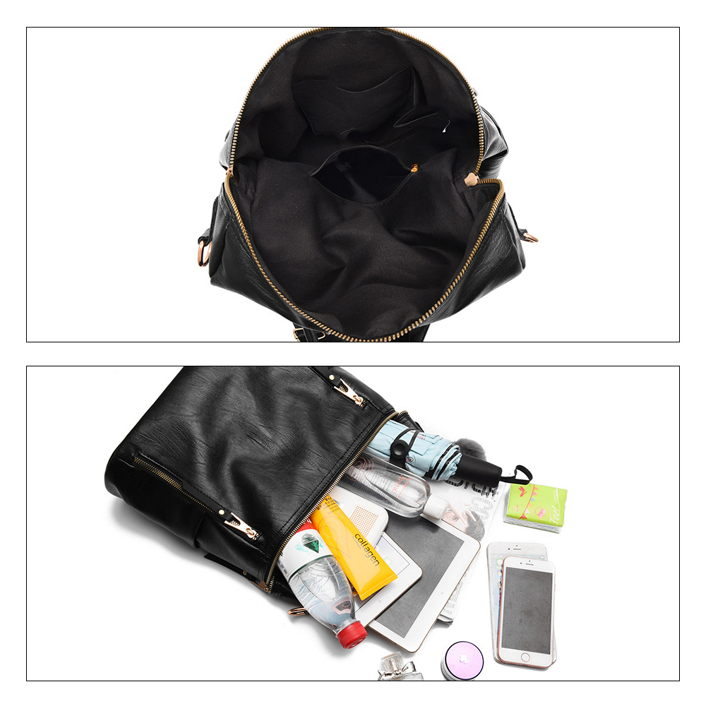 Herald Fashion Simple Backpack Women PU Leather Backpack For Teenage Girls School Bags Fashion Vintage Solid Black Shoulder Bag  4