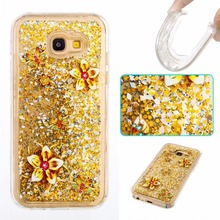 For Samsung Galaxy A3 A5 J3 J5 J7 J710 A310 A510 J510 2015 2016 2017 Cute Skull Flower Butterfly Glitter Quicksand TPU Soft Case