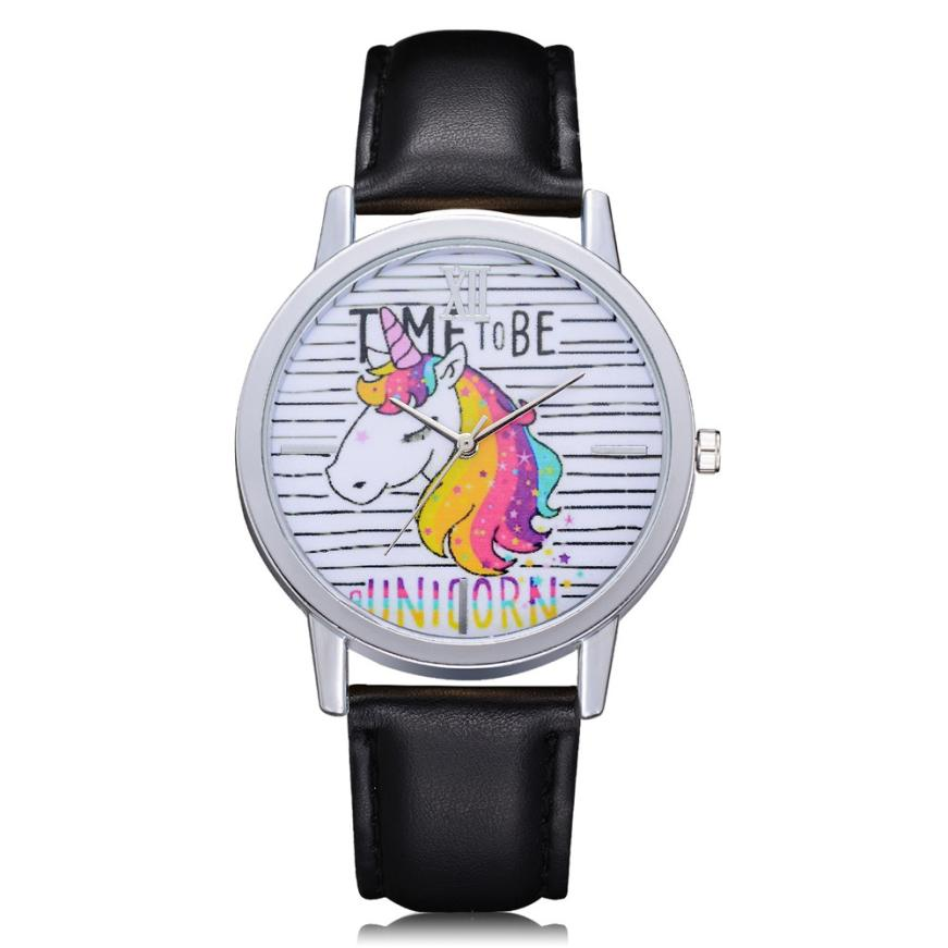 XINIU Fashion Watches Women Cute Animal Unicorn PU Leather Band Analog Quartz Wrist Watch relogio feminino orologi donna Clock bumvor watches women fashion watch 2017 unisex watches rose gold silver lady clock men relogio masculino horloge orologi donna