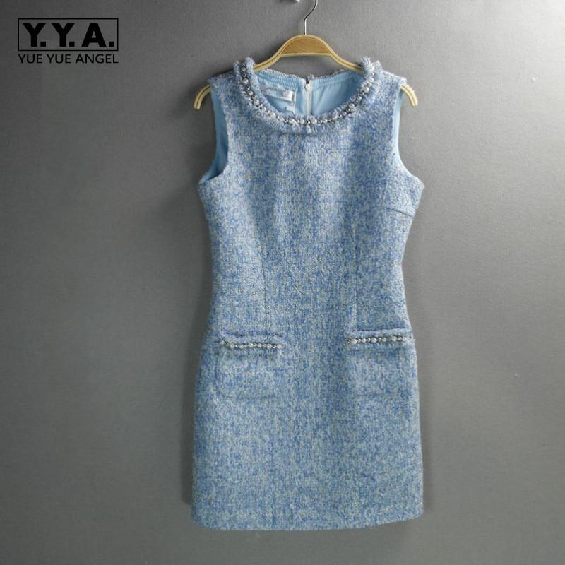 Hiver De Printemps Robe Tweed Automne Sergé Mince Pour Perlé As Laine Femme Wrap Bleu Ol Pic Petit Sans Parfum Robes Femmes Mini Manches ZZrRU8q