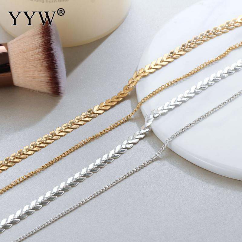 Multi Arrow Choker Necklace Women Two Layers Necklaces Gold/Silver Color Fishbone Airplane Necklace Flat Chain Chocker Jewelry image