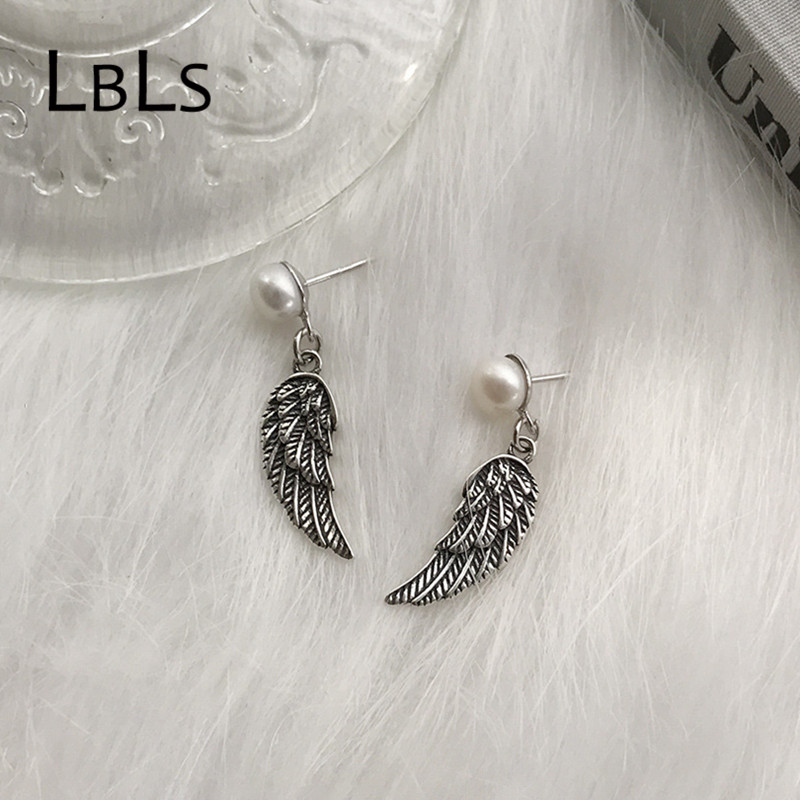 Real Pure 925 Sterling Silver Earrings Black Vintage Angle Wing Feather Simulated Pearl Drop Tassel Earrings Jewelery Earring