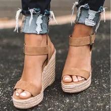 6977c50498aee WENYUJH lato Ultra wysokie kliny sandały na obcasie moda Open Toe platformy  windy kobiety sandały buty