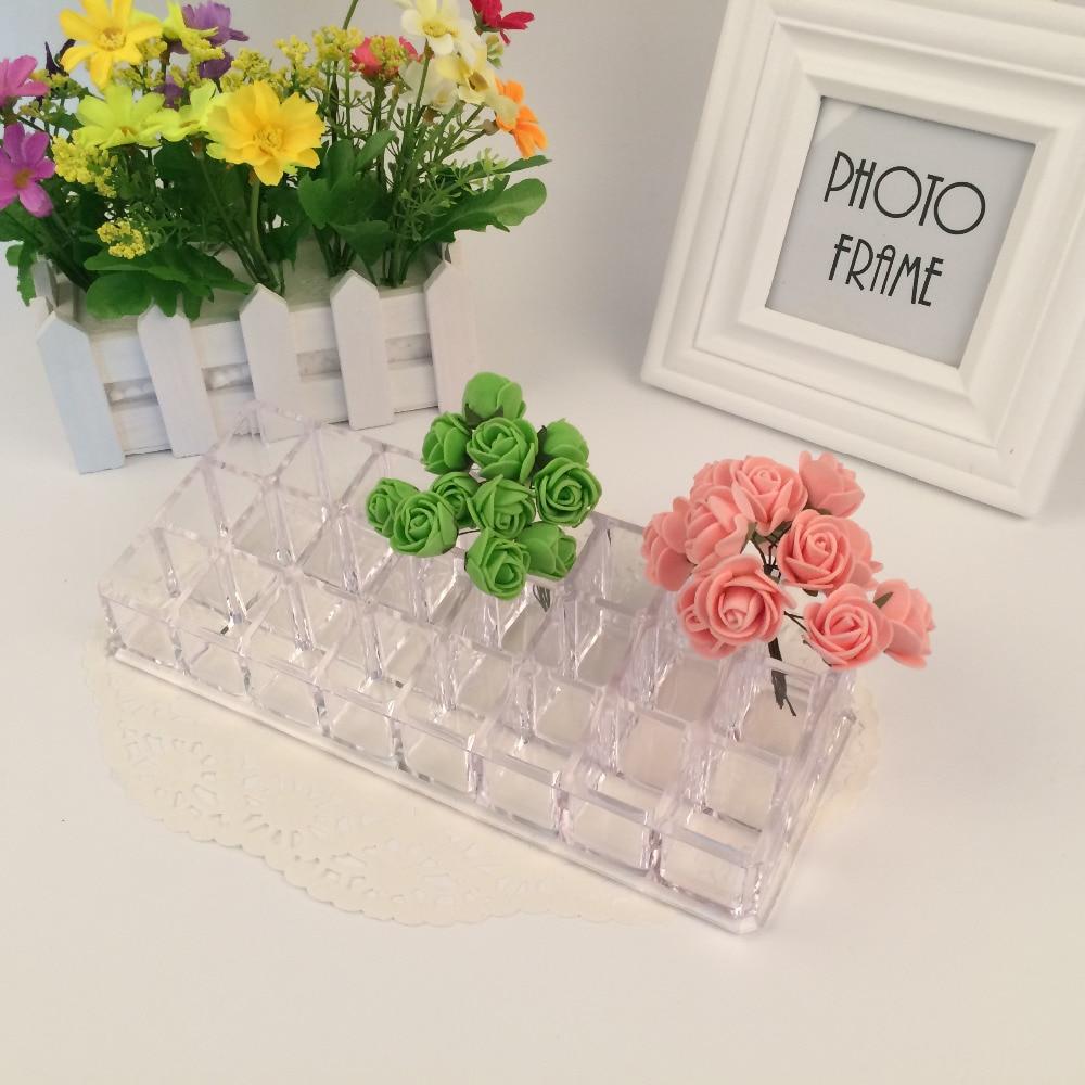 24 mřížka obdélník velké akrylové police skladování box make-up organizátor stůl zúčtování kuchyně stojan Kontejner kosmetické box