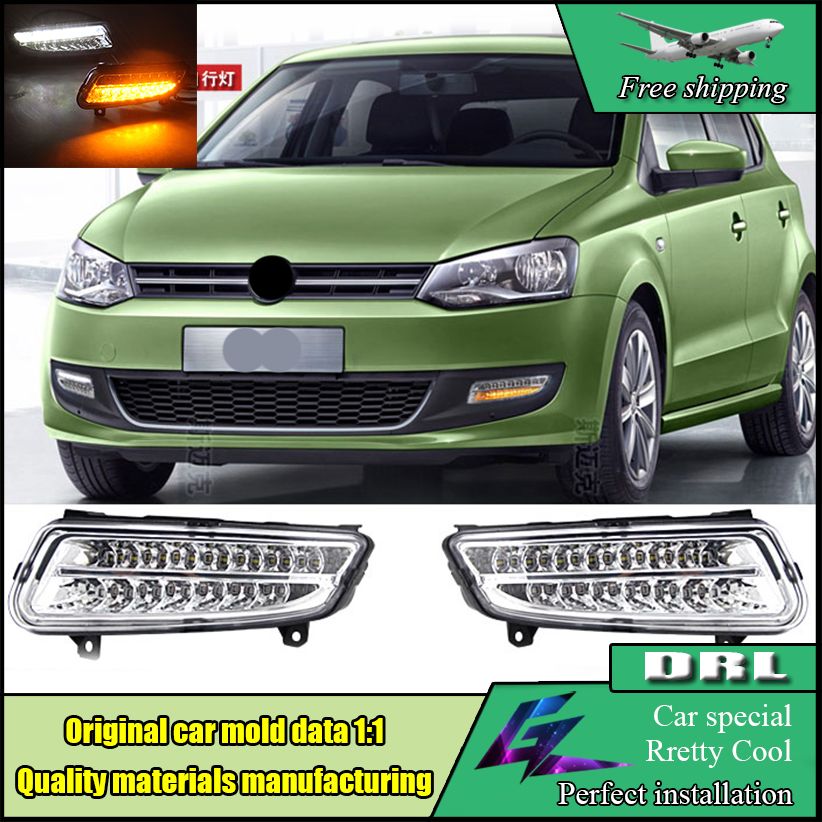 Car Styling For Volkswagen VW Polo Hatchback 2011 - 2013 LED DRL Daytime Running Lights & Fog Lamp Cover Yellow Turning Signal car styling front lamp for t oyota for tuner 2012 2013 daytime running lights drl