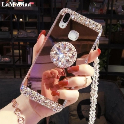 Mirror Diamond-Stand Anti-Fall-Cover Sparkle S7edge Note8 Bling Samsung S7 S10-Plus Luxury
