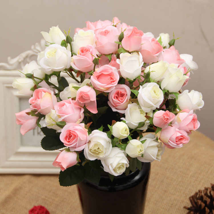 Free shipping silk rose artificial flowers real touch rose for Real plants for home decor