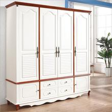 American country style wood wardrobe closet bedroom furniture four doors large storage closet p10260