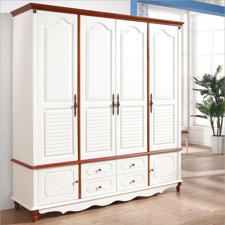 Style campagnard américain armoire en bois placard chambre meubles quatre portes grand placard de rangement p10260
