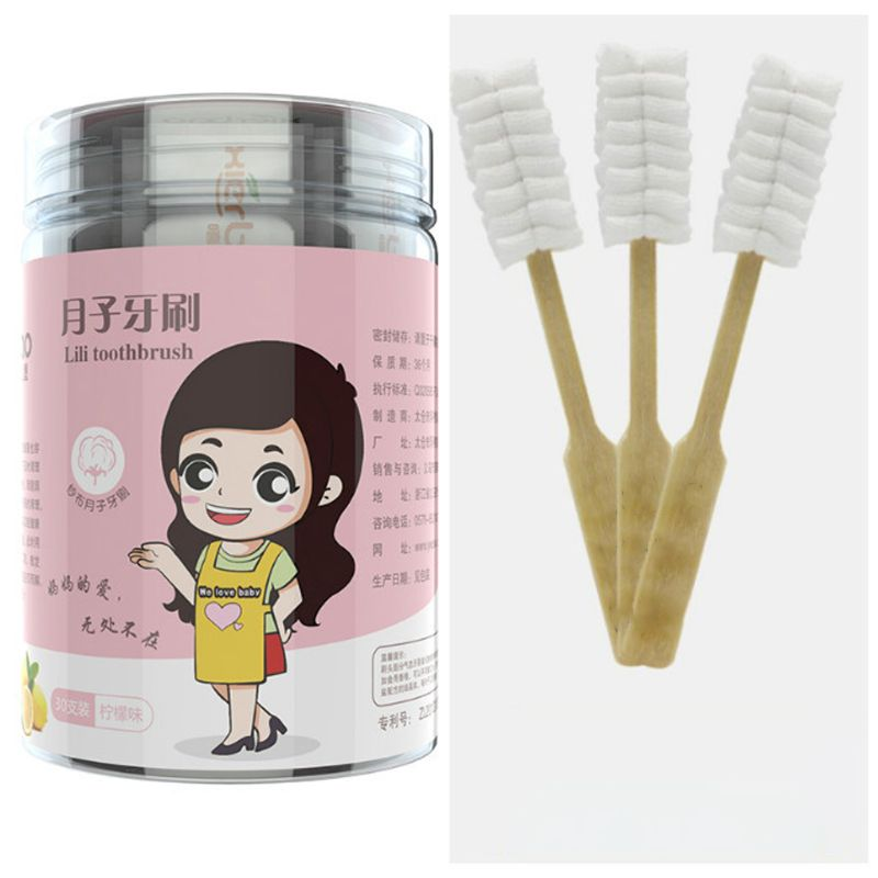 Portable Travel Pregnant Woman Maternity Disposable Toothbrush Cotton Yarn Wooden Handle Eco-Friendly Oral Hygiene Care image