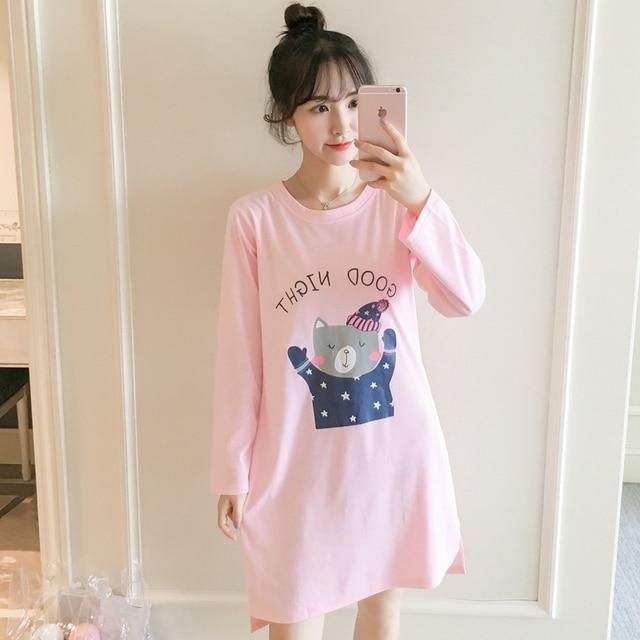 a89d65d467 2018 Autumn 100% Cotton Nightgown for Women Long Sleeve Night Dress Sweet  90s Girls Cute Cartoon Nightdress Female Home Clothing