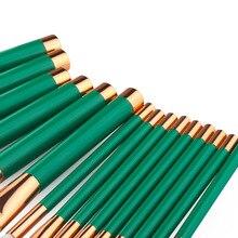 Green Makeup Brushes 15 pcs Set