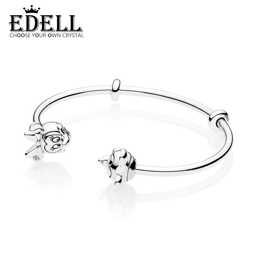 EDELL 100% 925 Sterling Silver New Classic Cartoon Cute Character Open Bracelet Original Womens Jewelry Charming GiftEDELL 100% 925 Sterling Silver New Classic Cartoon Cute Character Open Bracelet Original Womens Jewelry Charming Gift
