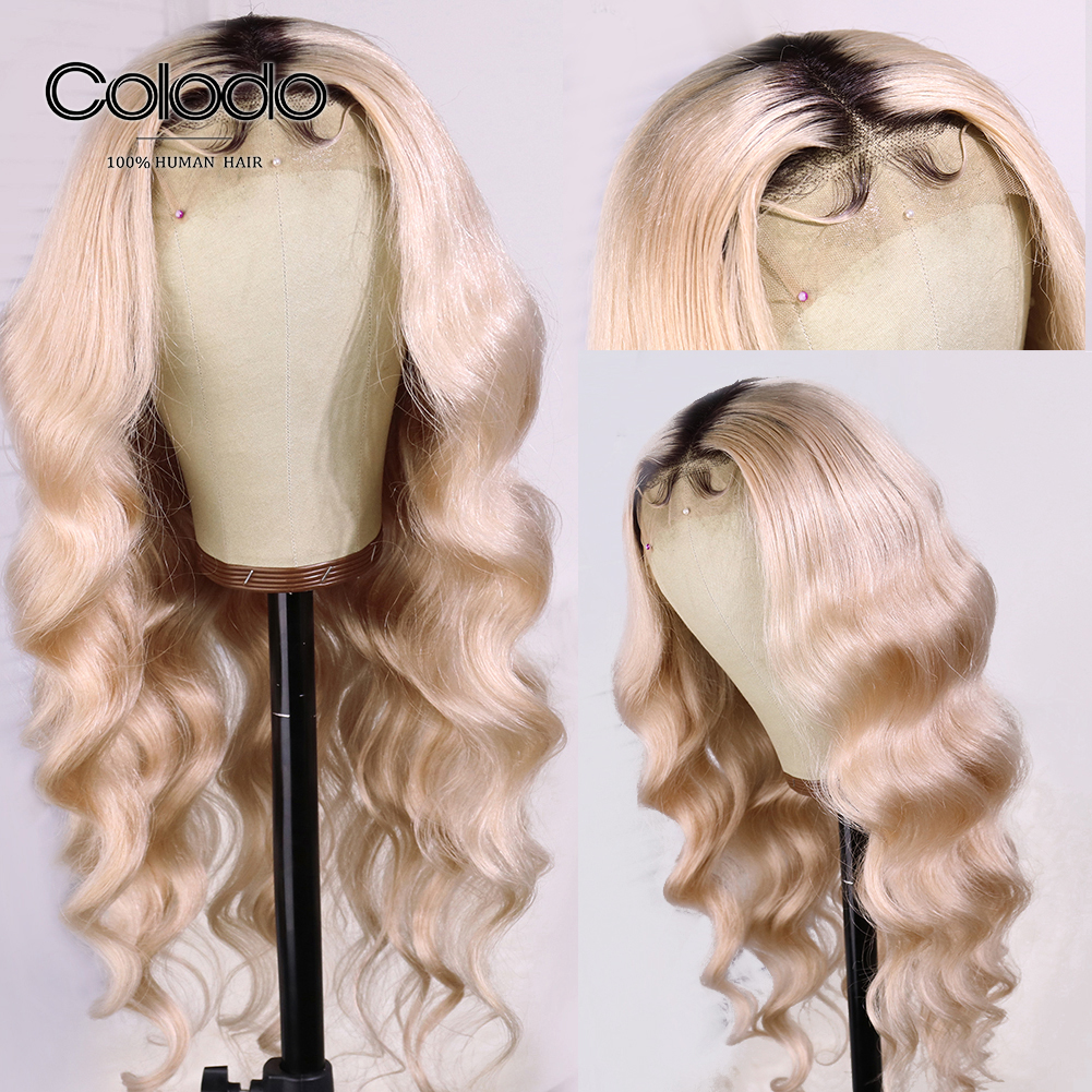 COLODO 613 Ombre Lace Front Wig Pre Plucked Loose Deep Wave Wig with Baby Hair Remy