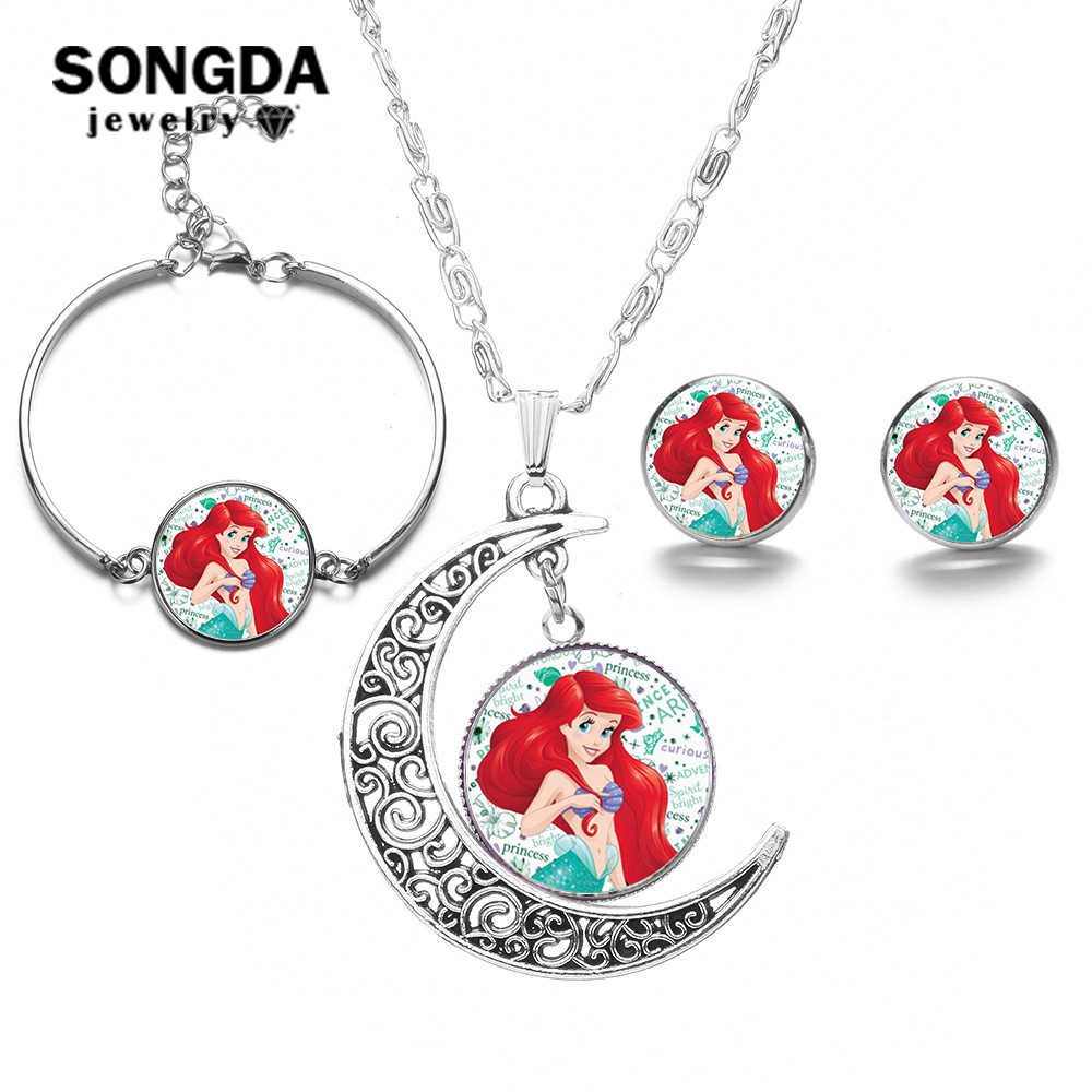 SONGDA Cute Little Mermaid Jewelry Sets for Baby Girl Princess Ariel Earrings Bracelet Moon Pendant Necklace Set Party Accessory