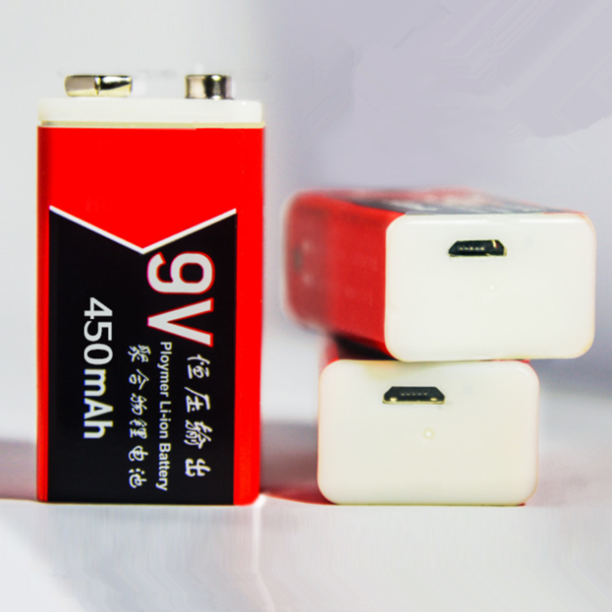 1pcs New 9V 450mAh USB Rechargeable 9V Lithium Battery for Alarm Microphone Medical Device Accessories