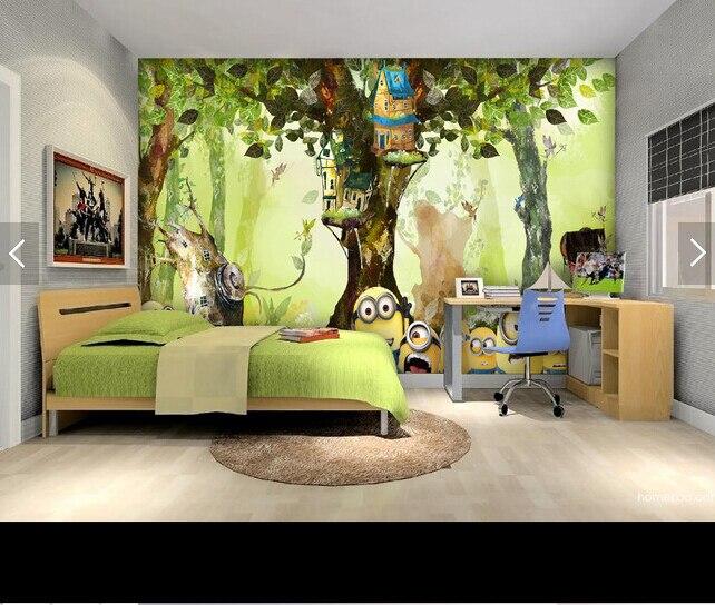 Custom animation wallpaper, forest small yellow man cartoon murals for children's room living room bedroom backdrop wallpaper custom children wallpaper fresh green trees 3d cartoon murals for children s rooms park backdrop waterproof wallpaper