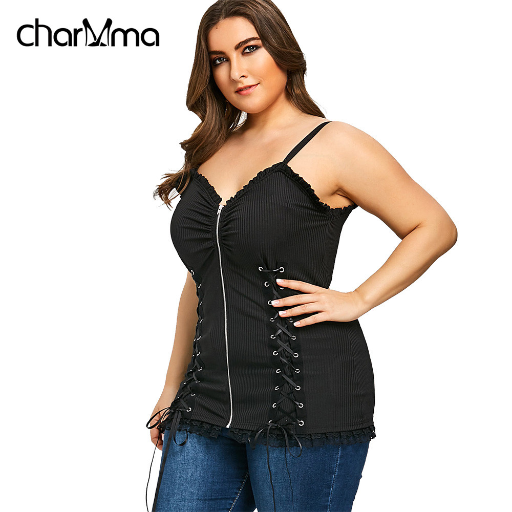 Women   Tank     Top   Plus Size Slip Gothic Criss Cross Zipper Up Sexy   Top   Summer Punk Spaghetti Strap Women Camis Lace-Up Tee Vests