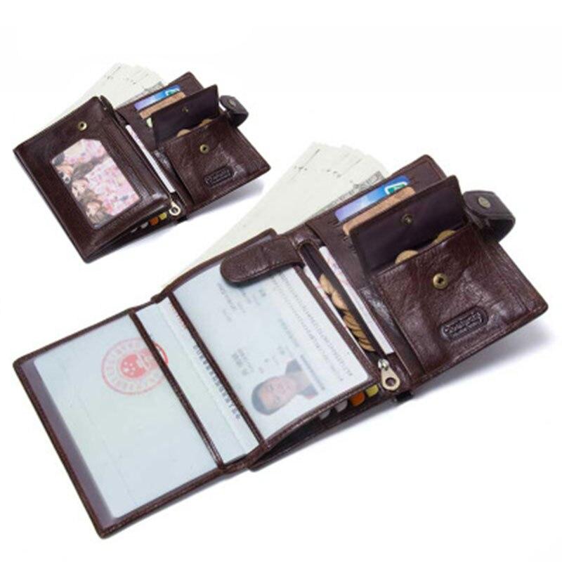 Men's Wallet Genuine Leather Passport Cover Short Vintage Cowhide Purse Men Coin Pouch Credit Card Holder Clutch Passport Case