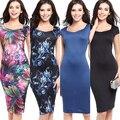 Женщины Vintage Sexy Цветочные Печати Cap Рукавом Slim Fit Bodycon Коктейль Карандаш Dress