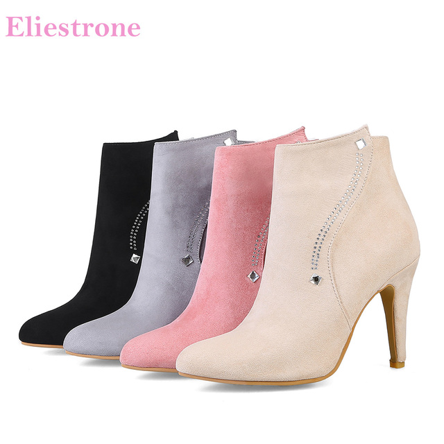 Brand New Winter Sexy Apricot Black Women Ankle Boots Pink Lady Crystal Shoes High Heel AK05 Plus Big Small Size 10 32 44 48