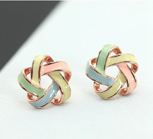 Hot Fashion Novel Jewelry Color Stripe Stud Earrings Trendy sweet candy colored small windmill Earrings flowers Femme Accessory
