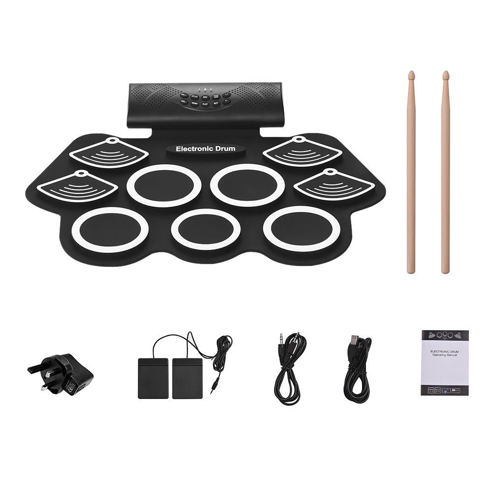 Portable Electronic Drum Kit Hand Roll Drum Set 9 Silicon Pads Built-in Stereo Speaker Lithium Battery with Drumstick Foot PedalPortable Electronic Drum Kit Hand Roll Drum Set 9 Silicon Pads Built-in Stereo Speaker Lithium Battery with Drumstick Foot Pedal